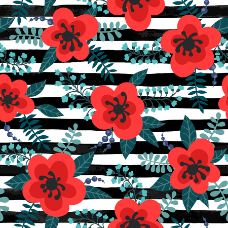 Floral pattern with red flowers and leaves on a striped black and white background. Ilustracja