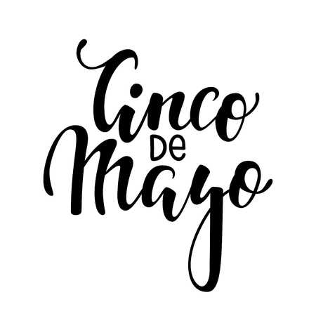 Cinco de Mayo, Hand drawn lettering phrase isolated on white background.