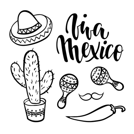 Viva Mexico, Hand drawn lettering phrase with doodle Mexican symbols isolated on background.