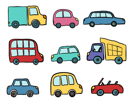 Big set of hand drawn cute cartoon cars for kids design. Vector illustration for wrapping, package, poster, web design, kids fabric, textile, nursery wallpaper. Set of cartoon cars, truck, bus.