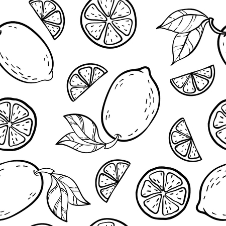 Beautiful black and white seamless doodle pattern with cute doodle lemons sketch. Hand drawn trendy background. design background greeting cards, invitations, fabric and textile Ilustração