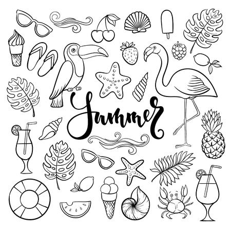 Big set of hand drawn cute cartoon summer symbol and objects for wrapping, package, poster, web design, fabric. Vector illustration isolated over white background Ilustracja