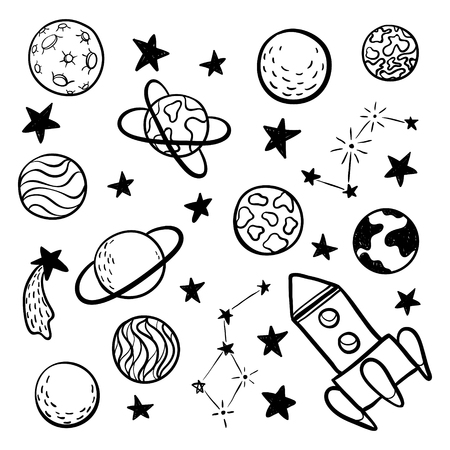 big set of hand drawn doodle space elements space, rocket, star, planet, space probes black and white isolated on background