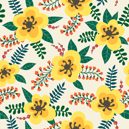 floral pattern yellow flowers, plants, branches and berries on a white background. design greeting card and invitation of wedding, Happy mother day, birthday, Valentine s day and seasonal holiday. Ilustração