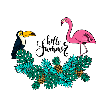 Tropical summer illustration with pink flamingo, toucan, pineapples, exotic leaves. design for holiday greeting card and invitation of seasonal summer holidays, summer beach parties, tourism, travel.