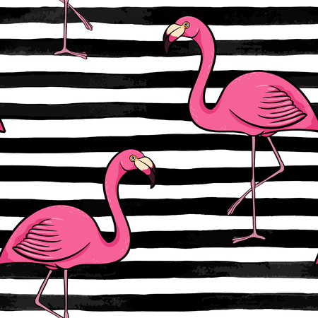 Hand drawn pink flamingo silhouette on a background of black and white stripes. design for holiday greeting card and invitation of seasonal summer holidays, summer beach parties, tourism and travel. Ilustracja