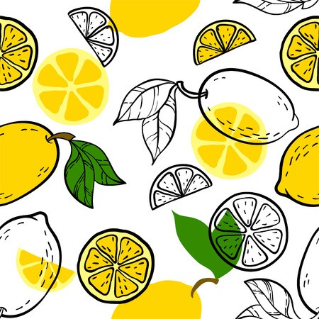Beautiful yellow, black and white seamless doodle pattern with cute doodle lemons sketch. Hand drawn trendy background. design background greeting cards, invitations, fabric and textile Ilustracja