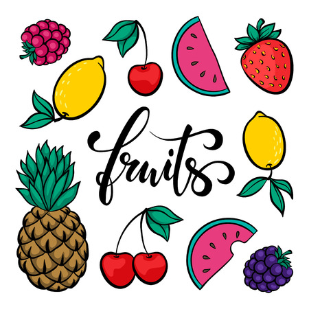 set of fruits, symbol of summer. Fruits Hand drawn calligraphy and brush pen lettering. design for holiday greeting card and invitation of seasonal summer holidays, beach parties, tourism and travel Ilustracja