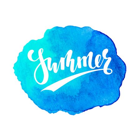Summer Hand drawn calligraphy lettering on watercolor blue hand drawn texture. design for holiday greeting card and invitation of seasonal summer holidays, summer beach parties, tourism and travel