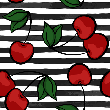 Seamless background with cherry on black and white watercolor stripes . design for holiday greeting card and invitation of seasonal summer holidays, summer beach parties, tourism and travel.