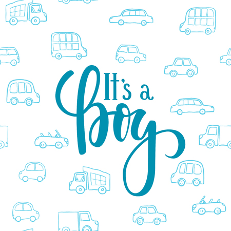 It s a boy. Hand drawn calligraphy and brush pen lettering on white background with blue doodle cars. design for holiday greeting card and invitation of baby shower, birthday, party invitation Ilustracja