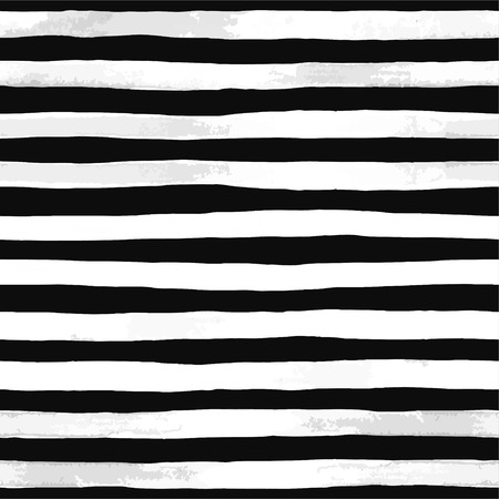 Beautiful seamless pattern with black and white watercolor stripes. hand painted brush strokes, striped background. Vector illustration Vintage textured background. Ilustração