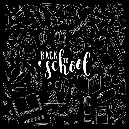 big set of black and white cute hand drawn doodle welcome back to school with lettering. Hand drawn calligraphy and brush pen lettering phrase back to school