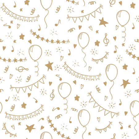 seamless pattern hand drawn doodle cartoon objects and symbols of birthday party. design holiday greeting card and invitation of wedding, Happy mother day, birthday, Valentine s day and holidays