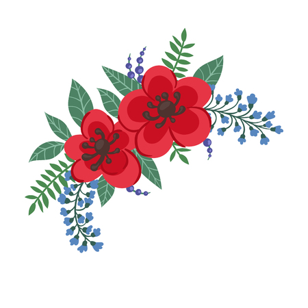 beautiful bouquet with red flowers and leaves. Floral arrangement. design greeting card and invitation of the wedding, birthday, Valentine s Day, mother s day and other holiday.