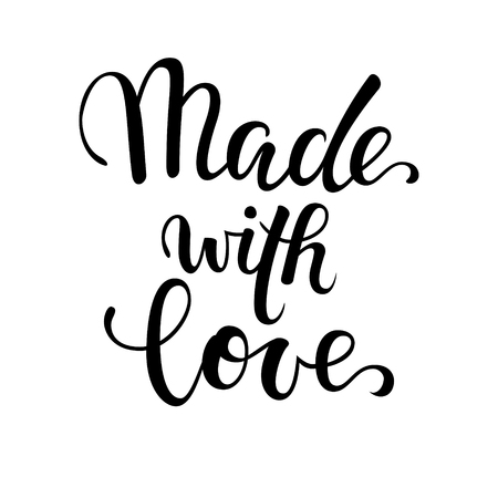 made with love. Hand drawn calligraphy and brush pen lettering on white background. design for holiday greeting card of baby shower, birthday, party invitation, poster, kids fabric, textile, nursery.