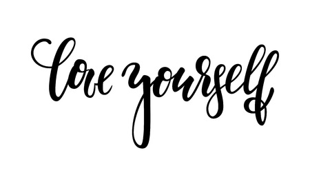 Hand drawn lettering of a phrase love yourself. Inspirational and Motivational Quotes. Hand Brush Lettering And Typography Design Art Your Designs T-shirts, For Posters, Invitations, Cards