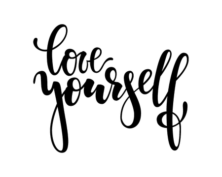 Hand drawn lettering of a phrase love yourself. Inspirational and Motivational Quotes. Hand Brush Lettering And Typography Design Art Your Designs T-shirts, For Posters, Invitations, Cards. Illustration