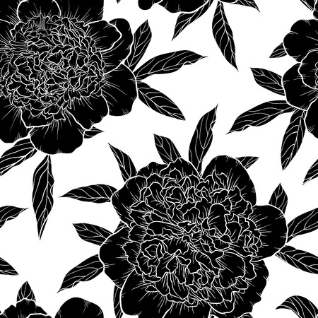 beautiful monochrome black and white seamless background peonies Hand-drawn. Design for greeting cards and invitations of wedding, birthday, Valentine s Day, mother s day and other seasonal holiday.