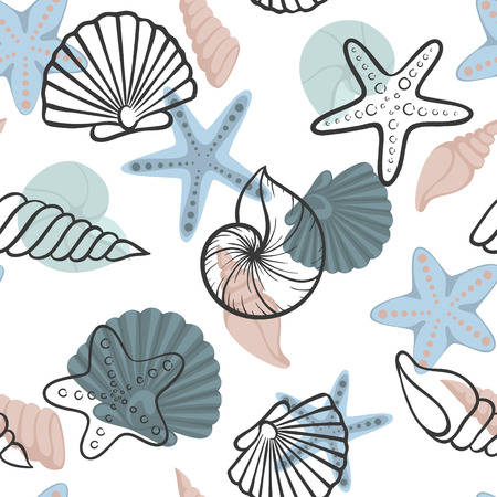 Seashell seamless pattern. design for holiday greeting card and invitation of seasonal summer holidays, summer beach parties, tourism and travel.