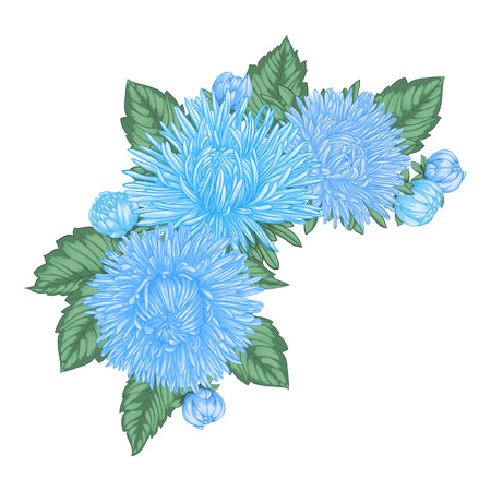 beautiful bouquet with blue asters and leaves. Floral arrangement. design greeting card and invitation of the wedding, birthday, Valentine s Day, mother s day and other holiday. Ilustracja