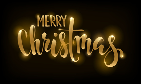Golden text on black background Merry Christmas. Hand drawn lettering for invitation and greeting card and invitations of the Merry Christmas and Happy New Year, seasonal winter holidays.