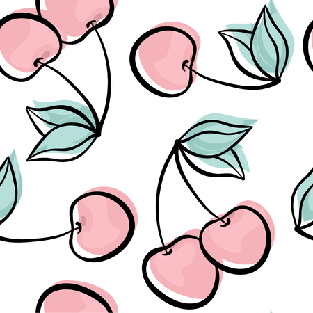 Beautiful seamless pattern with cute doodle cherry sketch. Hand drawn trendy background. design background greeting cards, invitations, fabric and textile