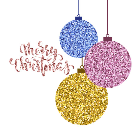 Hanging Christmas ball gold glitter. Hand drawn calligraphy Merry Christmas lettering. design holiday greeting cards and invitations of Merry Christmas and Happy New Year and seasonal holidays,