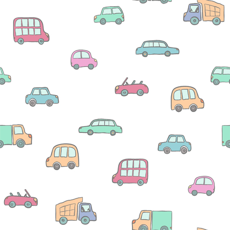 Seamless pattern of hand drawn cute cartoon cars for kids design. Vector illustration. wrapping, package, poster, web design, kids fabric, textile, nursery wallpaper. Set of cartoon cars, truck, bus