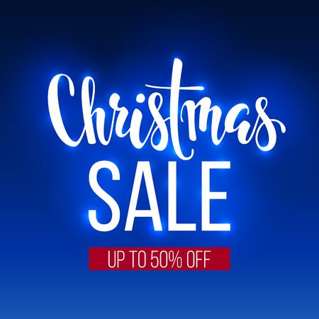 Christmas sale inscription on blue background. banner, poster, leaflat, logo, Winter holiday sale