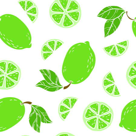 Beautiful green, black and white seamless doodle pattern with cute doodle limes sketch. Hand drawn trendy background. design background greeting cards, invitations, fabric and textile. Ilustracja