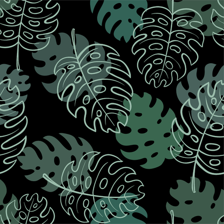 Beautiful seamless doodle pattern with vintage monstera leaves sketch. design for holiday greeting card and invitation of seasonal summer holidays, summer beach parties, tourism, travel.