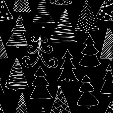 Seamless pattern of hand drawn Sketch Christmas tree. design holiday greeting cards and invitations of the Merry Christmas and Happy New Year, seasonal winter holidays.