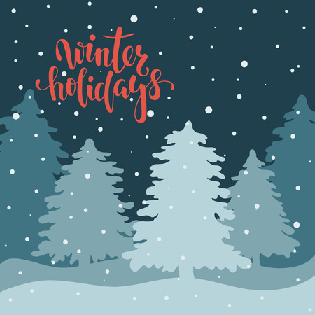 Night landscape with fir forest. Hand drawn calligraphy happy winter holidays lettering. design holiday greeting cards and invitations of Merry Christmas and Happy New Year and seasonal holidays Ilustracja