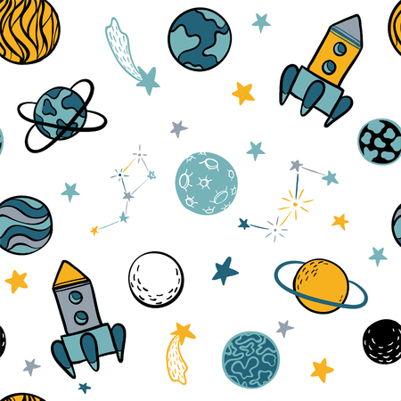 Childish seamless pattern hand drawn space elements space, rocket, star, planet, space probe. Trendy kids vector illustration for wrapping, poster, web design, kids fabric, textile, nursery wallpaper. Ilustracja