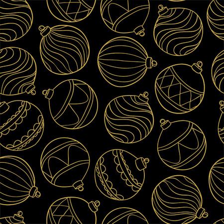 Beautiful monochrome, black and gold Pattern Christmas Balls. design for holiday greeting cards and invitations of the Merry Christmas and Happy New Year and seasonal holidays.