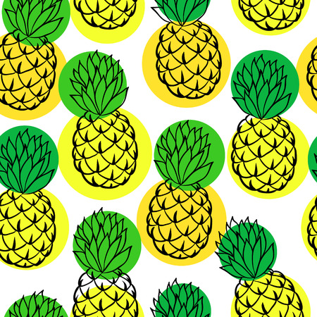 Seamless background with pineapple on white. design for holiday greeting card and invitation of seasonal summer holidays, summer beach parties, tourism and travel Ilustracja