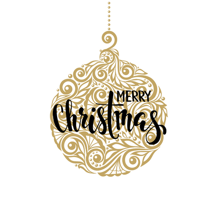 Hanging Christmas ball with a floral swirl. Hand drawn calligraphy Merry Christmas lettering. design holiday greeting cards and invitations of Merry Christmas and Happy New Year and seasonal holidays Ilustracja