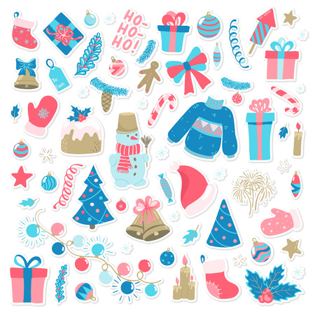 Happy New Year and Merry Christmas doodle set. Collection of xmas elements for design holiday greeting cards and invitations of the Merry Christmas and Happy New Year, seasonal winter holidays. Ilustracja