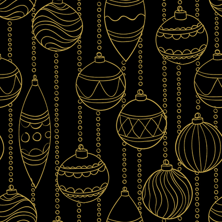 Beautiful monochrome, black and gold Pattern Christmas Balls. design for holiday greeting cards and invitations of the Merry Christmas and Happy New Year and seasonal holidays. vector.