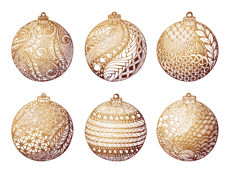 Set of gold christmas ball, hand-drawn. design for background holiday greeting cards and invitations of the Merry Christmas, Happy New Year and seasonal holidays, banners, logo and seasonal holidays. Ilustracja