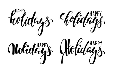 Happy holidays. Hand drawn creative calligraphy, brush pen lettering. design holiday greeting cards and invitations of Merry Christmas and Happy New Year, banner, poster, logo, seasonal holiday.