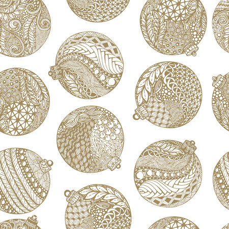 Beautiful monochrome, white and gold Pattern Christmas Balls. design for holiday greeting cards and invitations of the Merry Christmas and Happy New Year and seasonal holidays. vector. Ilustracja