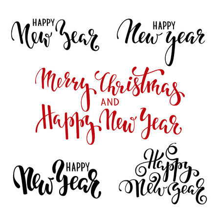 Happy New Year. Hand drawn creative calligraphy, brush pen lettering. design holiday greeting cards and invitations of Merry Christmas and Happy New Year, banner, poster, logo, seasonal holiday. Ilustracja