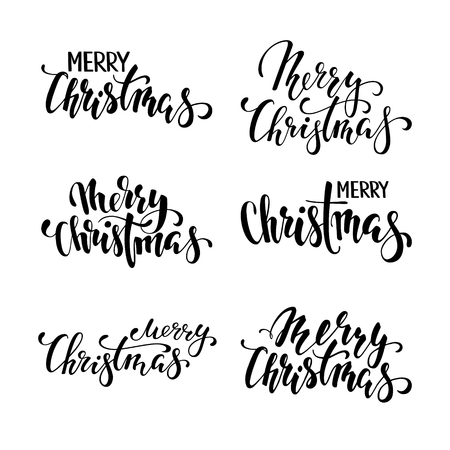 Merry Christmas. Hand drawn creative calligraphy, brush pen lettering. design holiday greeting cards and invitations of Merry Christmas and Happy New Year, banner, poster, logo, seasonal holiday.