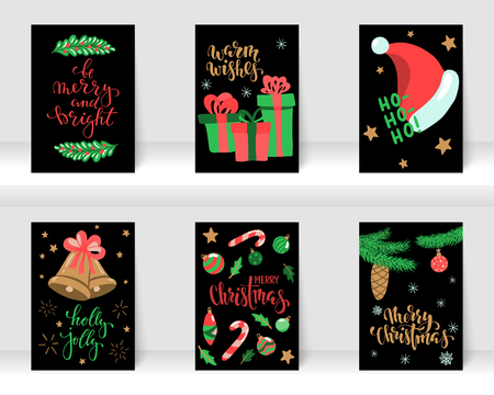 Set of Christmas and Happy New Year greeting cards with calligraphy and hand drawn elements. design holiday greeting cards and invitations of the Merry Christmas and Happy New Year, winter holidays Ilustração