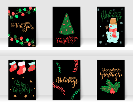 Set of Christmas and Happy New Year greeting cards with calligraphy and hand drawn elements. design holiday greeting cards and invitations of the Merry Christmas and Happy New Year, winter holidays Illusztráció