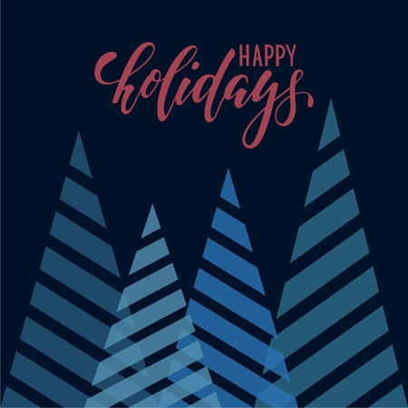 Vintage triangular stylized Christmas trees. Hand drawn calligraphy happy holidays lettering. design holiday greeting cards and invitations of Merry Christmas and Happy New Year and seasonal holidays
