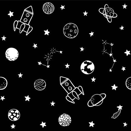 Childish seamless pattern. hand drawn space elements space, rocket, star, planet, space probe. Trendy kids vector illustration for wrapping, poster, web design, kids fabric, textile, nursery wallpaper