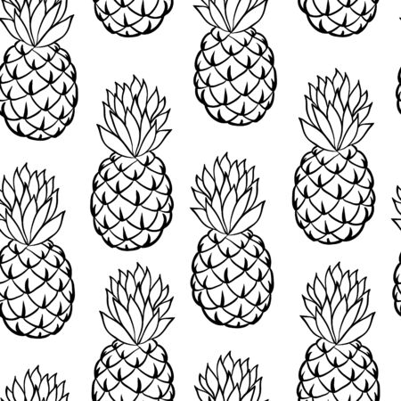 Beautiful black and white seamless doodle pattern with cute doodle pineapple sketch. Hand drawn trendy background. design background greeting cards, invitations, fabric and textile. Ilustração